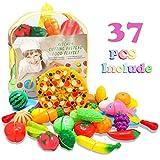 Glonova 37 PCS Dînette Cuisine Enfants Légume et Fruits Accessoire à Couper, Jouets Aliment Marchande à Découper, Éducatif Tôt Développement Bébé