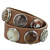 Quiges - medium Snap Button Brown Bracelet Set 41/43cm + 6 Snap Buttons