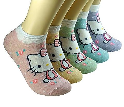 Katzen Sweet Hello Kitty Tier Muster Crew Boden Socken