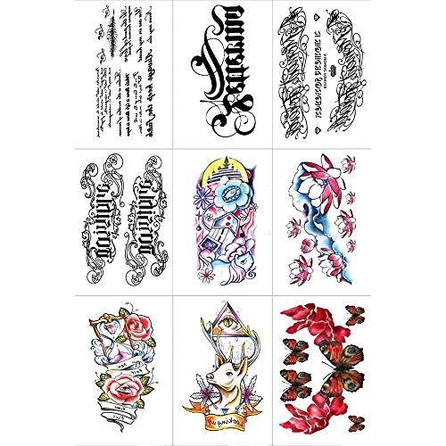 ZXLIFE@@ Wasserdicht temporäre Tattoos, Mini Tattoo Sticker Multifunktions-Fake-Tattoos ungiftige Körperkunst für Karneval Strand Halloween Hochzeiten Party etc