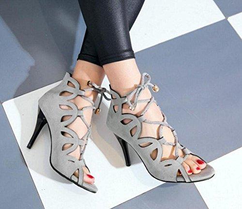 SHINIK Femmes Pompes Hollowed Talons hauts Sandales Court Chaussures Lace-Up Chaussures Gris Rouge Noir Grey