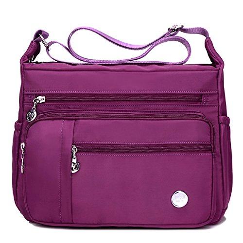 Bolso de hombro mujer, E Ekphero Bolso de Crossbody de nylon impermeable Bolsa de mensajero para vacaciones viajes y el uso diario Purpura Grande