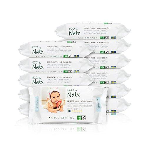 Naty by Nature Babycare Öko Feuchttücher Leicht Parfümiert, 12er Pack (12 x 56 Stück)