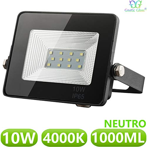 Foco LED exterior Floodlight 10W GNETIC GLASS Proyector Negro Impermeable IP65 1000LM...