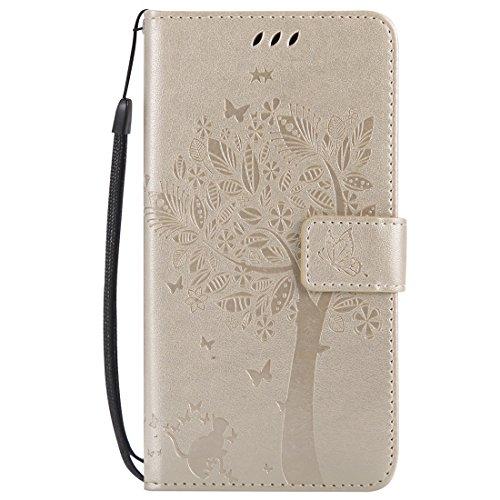 Mioc Xiaomi Mi Mix 2 Funda, Funda de Cuero para teléfono Diseño de gofrado Gato y árbol con Ranura para Tarjeta de Billetera y Hebilla magnética Estuche, Dorado