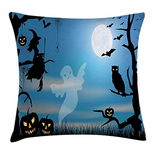 row Pillow Cushion Cover, Ghost Witch Owl Spider Web Bats Trees Fantastic Grange Forest at Night, Decorative Square Accent Pillow Case, 18 X 18 inches, Blue Black White ()