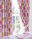 Patchwork Pink Girls Ready Made Lined Pencil Pleat 66 x 54 Curtains + Tie Backs