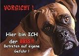INDIGOS UG - Türschild FunSchild - SE348 DIN A5 ACHTUNG Hund Boxer - für Käfig, Zwinger, Haustier, Tür, Tier, Aquarium - aus hochwertigem Alu-Dibond beschriftet sehr stabil