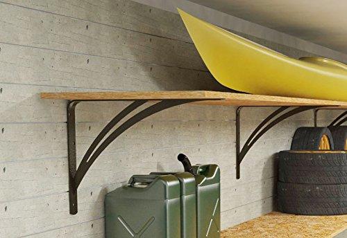 Ve.ca-italy reggimensola liberty colore nero micaceo per garage dimensioni 30-40 - 50-60 cm, arredo garage, arredo casa (50 cm)