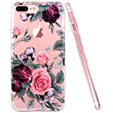 JIAXIUFEN iPhone 6 Hülle, iPhone 6S Hülle, TPU Silikon Schutz Handy Hülle Transparent HandyHülle Schutzhülle Case Cover Huelle Handyhuelle für Apple iPhone 6 6S - Pink Purple Rose