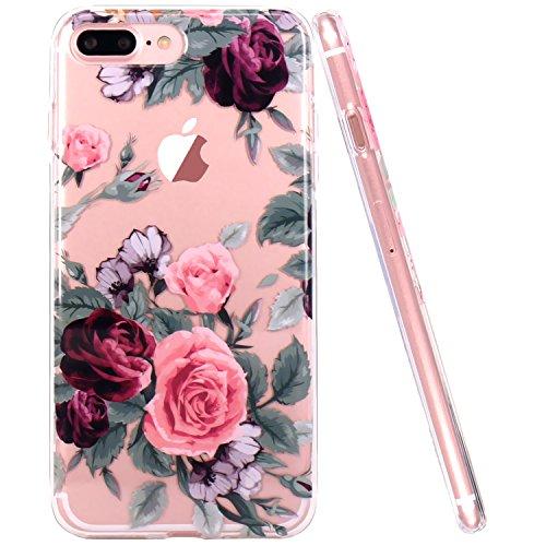 iPhone 7 Plus Hülle, iPhone 8 Plus Hülle,JIAXIUFEN TPU Silikon Schutz Handy Hülle Handytasche HandyHülle Etui Schale Schutzhülle Case Cover für Apple iPhone 7 Plus / iPhone 8 Plus - Pink Purple Rose