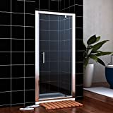 760mm Pivot Hinge Shower Door 6mm Safety Glass Reversible Shower Enclosure Cubicle