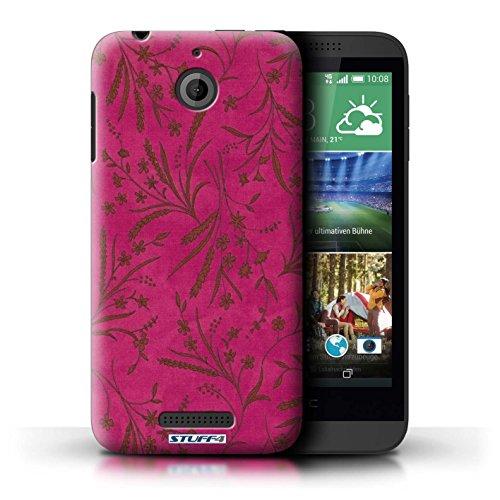 Kobalt® Imprimé Etui / Coque pour HTC Desire 510 / Violet/Rose conception / Série Motif floral blé Rose/Orange