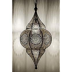 Lámpara Oriental Marroquí - lamparilla colgante - farola de techo Malha Plateado - 50cm - muy práctica para una iluminación excelente - transmite una decoración excelente refinada
