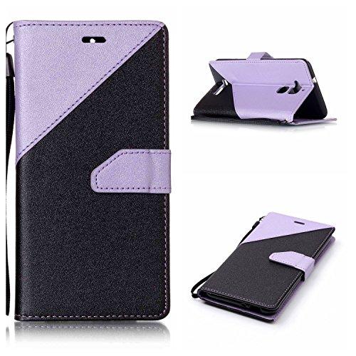 Qiaogle Telefon Case - PU Leder Wallet Schutzhülle Case für Apple iPhone 7 (4.7 Zoll) - YX34 / Schwarz + Dark Blau YX27 / Schwarz + Light Lila