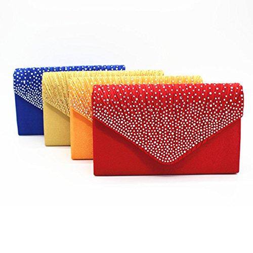 Satin Glänzend Strass Hochzeit Abendtasche Clutch Handtasche Handtasche Multicolor Red1