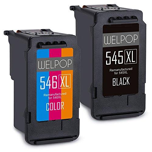 WELPOP Ersatz für Canon PG-545XL CL-546XL Druckerpatronen Schwarz/Farbe Kompatibel mit Canon PIXMA iP2850 iP2800 MG2400 MG2450 MG2455 MG2500 MG2550 MG2900 MG2920 MG2950 MG2555 MX495
