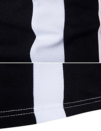 YCHENG Herren Sommer Poloshirt Polohemd Shirt Hemd Kurzarm Slim Fit Schwarz und Weiß Schwarz