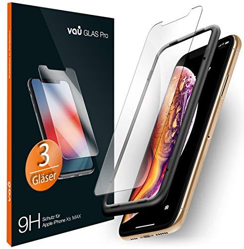 vau iPhone XS Max Panzerglas Glas Pro Schutzfolie 3 x Panzerglasfolie Vorne + Installationswerkzeug Displayschutzfolie Front (für Apple iPhone 10s Plus 6.5 OLED 2018)