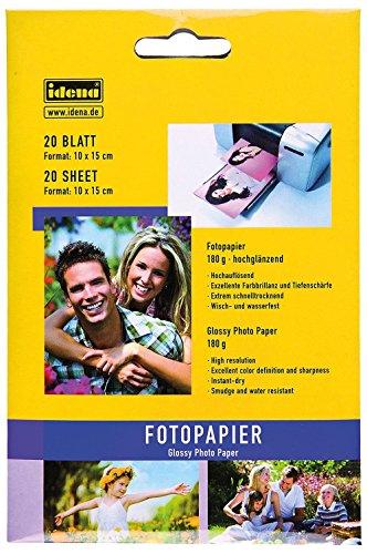Preisvergleich Produktbild Idena 315093 - Fotopapier, 180 g, hochglänzend, 20 Blatt, Format: 15 x 10 cm, hochweiß