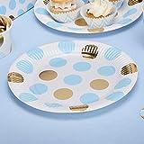 Simplydeko Partyteller | Pappteller zu Hochzeit, Weihnachten, Party oder Kindergeburtstag (Punkte in Hellblau Gold)