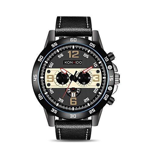 KONXIDO wasserdichte Mode-Serie männlich Quarz Kalender Uhr mit verschiedenen Farb-Dial analog-Display und Luxus echtes Lederarmband-Mode Design Kleid Uhr mit Edelstahlgehäuse