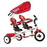 COSTWAY Carrito Gemelar Silla de Paseo Niños Triciclo para 18-36 Meses Asiento Giratorio con Pedales y Cubierta (Rojo)