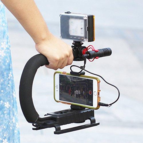 U-Grip + Telefon Clip + 96 LED Licht + Boya BY-MM1 Mikrofon-Set, Triple 3 Schuh-Halterungen Video Action Stabilisiergriff Griff Rig für iPhone 7 Plus Canon Nikon Sony DSLR Kamera / Camcorder (U-griff)