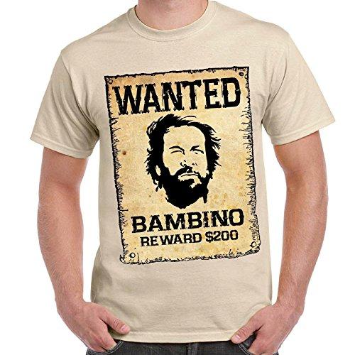 CHEMAGLIETTE! - T-Shirt Divertente Vintage Bud E Terence Maglietta Lo Chiamavano Trinita' Wanted, Colore: Sabbia, Taglia: XXL