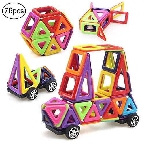 Morkka Magnetische Bausteine 76 Teile Magnete Bauklötze Konstruktion Blöcke Pädagogisches Spielzeug Set Kreative Spielzeugauto Tolles(Mini Size)