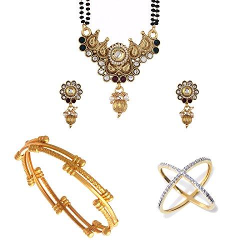 Zeneme AKSHAYA TRITIYA Speical Collection of Designer American Diamond Mangalsutra Set and Gold Plated Bangles & Rings Jewellery For Women (2.8)