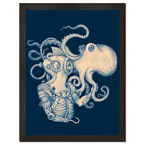 Poster Steampunk Pirat Thema, Stranddekor, Unterwasserdruck, Blaugold, 8 x 10 x 18 x 24 cm ()