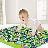 FuLanDe Kinder-Spielmatte für den Straßenverkehr für Schlafzimmer, Spielzimmer, 130 x 160 cm, Teppich zum Spielen mit Autos und Spielzeug, Spielen, Lernen und haben Spaß für Kinder und Baby.