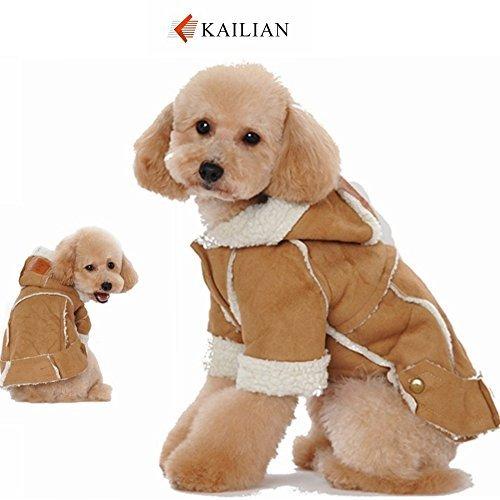 Kailian ® Dog winter Jacket Puppy Hooded Coat, Dog Apparel,Dog Snowsuit, Faux Shearling Fabric Coat Cotton ClothesCoffee-XXL by (Pfund 100 Kostüme Hund)