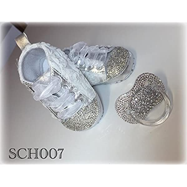 Krone Babyschuhe mit Haarband Kristall Strass Baby Shoes Luxus Taufe Prinzessin Geburt Brillabenny
