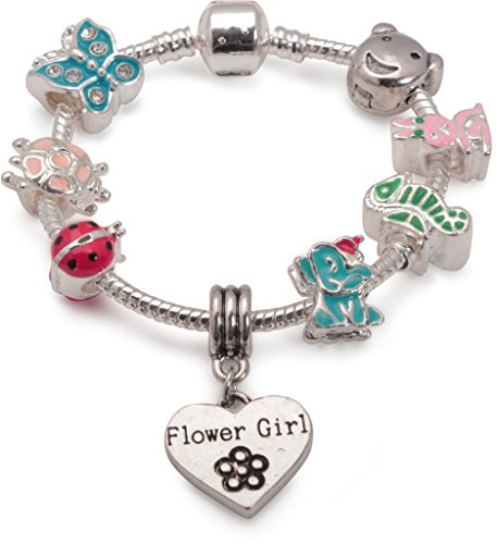 Bling Rocks Personalisiertes Flower Girl Kinder Animal Magic Silber Bunny Marienkäfer Schmetterling Elefant Pandora Style Charm Bead Armband. Mädchen Hochzeit Thank You Geschenk (weitere Größen erhältlich)