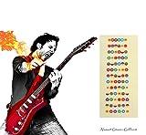 Gitarre Abziehbilder Perfekt für Anfänger,Alaman 100% Vinyl Mehrfarbige Griffbrett Noten helfen Sie vermindern die Schwierigkeit beim Gitarre Lernen (1 Stück)