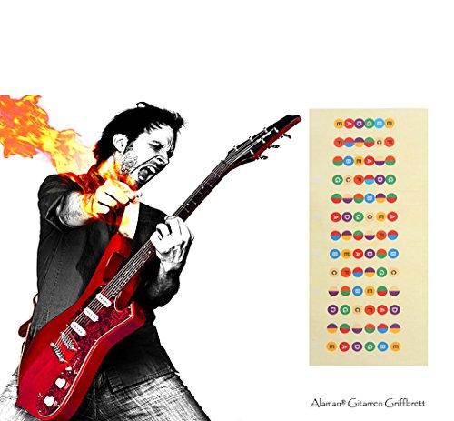 Gitarre Abziehbilder Perfekt für Anfänger,Alaman 100% Vinyl Mehrfarbige Griffbrett Noten helfen Sie vermindern die Schwierigkeit beim Gitarre Lernen (1 Stück) (Die Sie Lernen Gitarre)