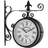 Blumfeldt Paddington - Horloge murale au style pendule de gare rétro pour intérieur & extérieur avec cadran des 2 côtés (résiste aux intempéries, éléments décoratifs métalliques)