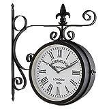 Blumfeldt Paddington Horloge Murale (Style Pendule de Gare rétro pour intérieur & extérieur, Cadran des 2 côtés, résiste aux intempéries, éléments décoratifs métalliques)