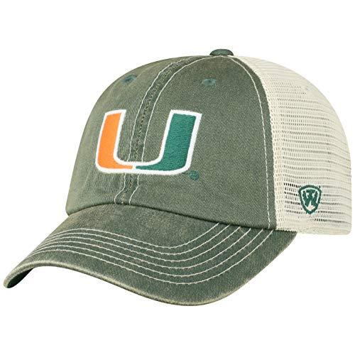 Top of the World Herren Mütze NCAA Vintage Team Icon verstellbar, Herren, NCAA Men's Vintage Mesh Adjustable Icon Hat, Miami Hurricanes Green, Einstellbar (Hurricanes Miami Hat)
