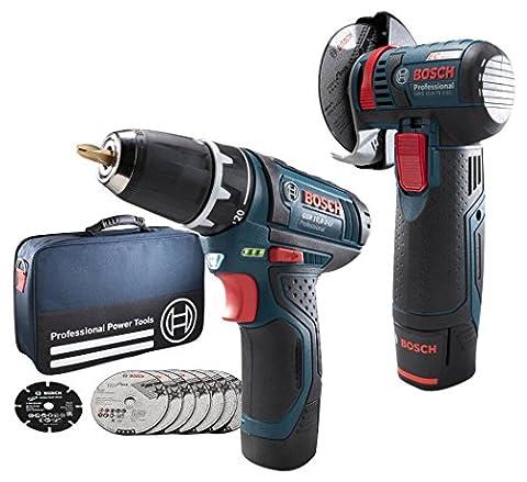 Bosch Professional GWS10,8-76 V-EC+GSR10,8-2-LI Akku-Bohrschrauber 10.8 V 2.5 Ah Li-Ion inkl. 2. Ak