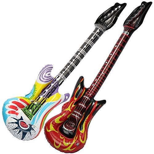 sbare Gitarren als witziges Accessoire - Luftgitarre perfekt zu Fasching, Karneval oder Halloween - Größe: ca.1 Meter (Luftgitarre - Rock + Bunt) ()