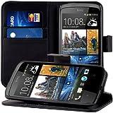 kwmobile Wallet Case Hülle für HTC Desire 500 - Cover Flip Tasche mit Kartenfach und Ständerfunktion in Schwarz