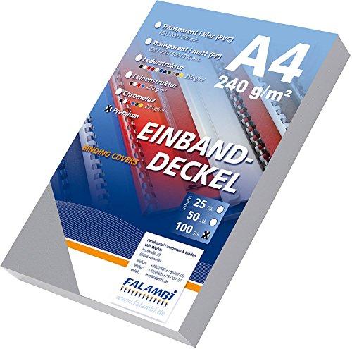 100 Einbanddeckel Lederstruktur, Falambi / Premium 240 Rückenkarton (grau)