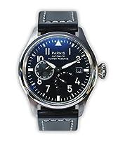 Reloj de aviador PARNIS mecánica automática modelo 2055 objetivo de fecha y pulsera de acero inoxidable - marcas negras y reserva de marcha-Display de PARNIS