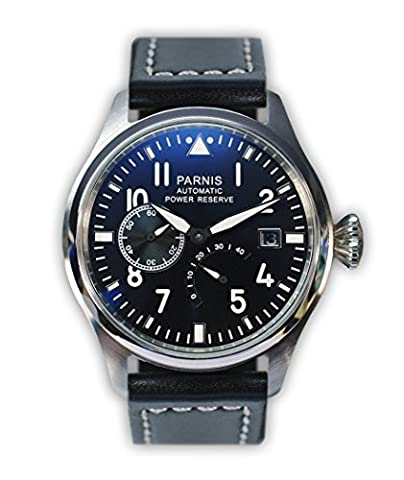 Parnis Model 2055 Mechanical Automatic Watch, SeaGull Branded Mechanism, Stainless Steel, Leather Strap, Date and Power Reserve Display