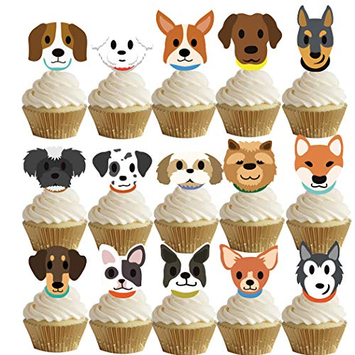 Joyibay 60PCS Cake Topper Cute Assorted Cartoon Perros Cupcake Topper Party Topper