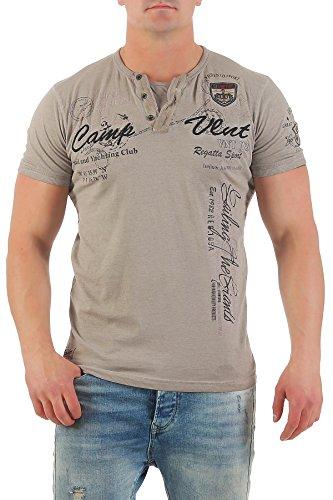Violento Herren T-Shirt Freizeitshirt Polo Hemd Kurzarm Shirt Sportswear Casual Vintage Washed 3065 3122-beige