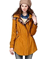 Artka Women's Plaid Patchwork Drawcord Cinched Waist Trench Coat FA10042Q